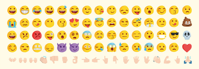 Vector emoticon set. Emoji pack Wall mural