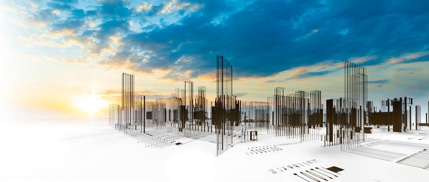 Diseño arquitectónico de la ciudad moderna en 3d. Fondo de arquitectura abstracta y edificios. Construcción e ingeniería