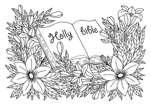 Vector illustration zentangl. Book in expanded form among the flowers. Coloring book. Antistress for adults and children. Work done in manual mode. Black and white.