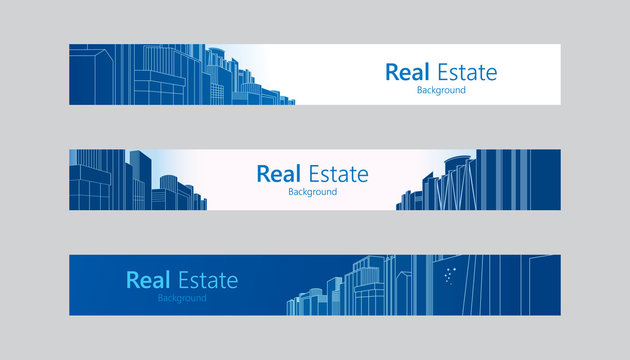 Template of real estate banner design with space for text. Vector illustration