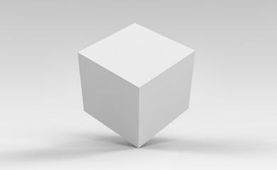 3d cube box render on isolated background for product package design mockup and template