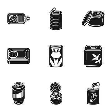 Canned food icon set. Simple set of 9 canned food vector icons for web design isolated on white background