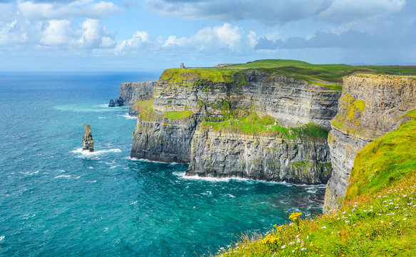 Scenic view of Cliffs of Moher, one of the most popular tourist attractions in Ireland, County Clare.