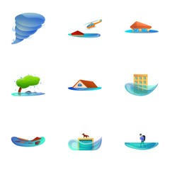 Cataclysm icon set. Cartoon set of 9 cataclysm vector icons for web design isolated on white background