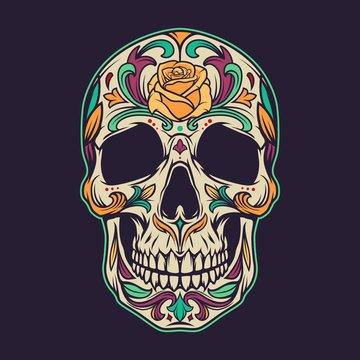Vintage mexican sugar skull colorful concept