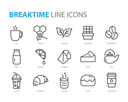 set of break time icons, coffee, tea, cake, pot