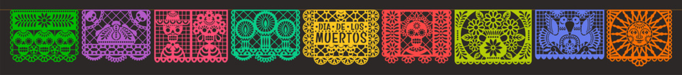 Day of the Dead. Dia de los muetros. Papel Picado. Vector horizontal banner with traditional Mexican paper cutting flags. Isolated on black background Wall mural