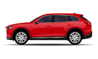 Foto op Canvas Cartoon cars realistic SUV car. side view.