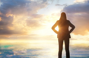 background, beach, beautiful, beauty, blue, bright, businesswoman, cliff, cloud, cloudscape, coast, color, colorful, concept, dawn, dramatic, dusk, environment, evening, female, freedom, future, heave Wall mural
