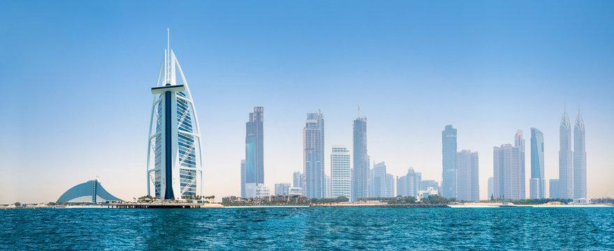 UAE, United Arab Emirates. Dubai and the Persian gulf at sunset. Under the water life illustration
