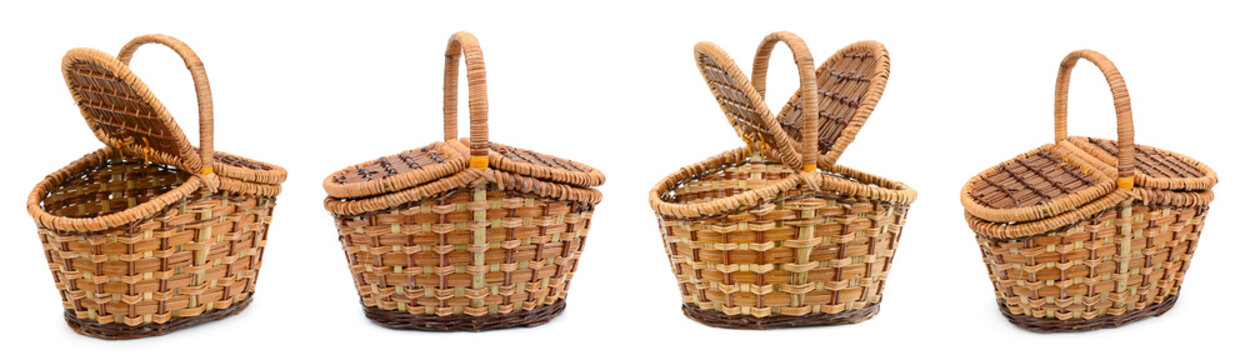 Picnic basket collection isolated on white
