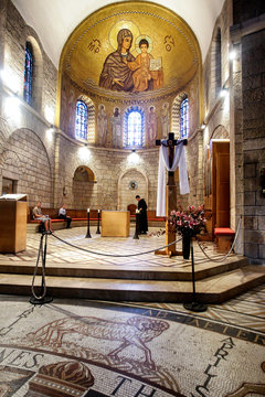 Interior of the Church of Dormition Abbey on Mount Zion in Jerusalem, Israel. May 2013