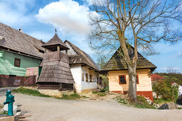 Colourful traditional wooden houses in mountain village Vlkolinec- UNESCO (SLOVAKIA)