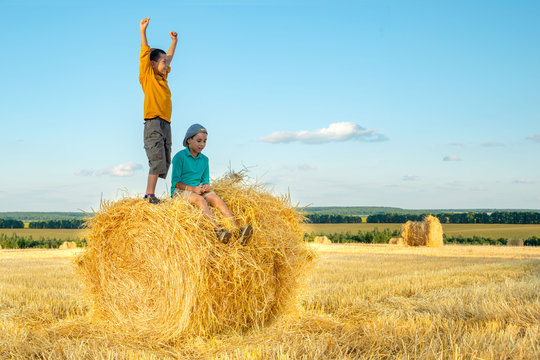 The boy stands on a haystack and joyfully raises his hands up to the sun.
