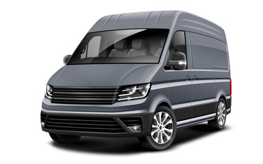 Grey Generic Van Car On White Background. Cargo Business Minivan. Perspective View. Illustration With Isolated Path.