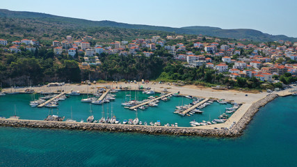 Canvas Prints Ship Aerial drone photo of iconic medieval castle and village of Pylos or Pilos in the heart of Messinia prefecture, Peloponnese, Greece