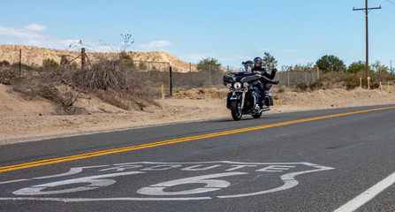 Bikers riding a moto in historic route 66, USA.