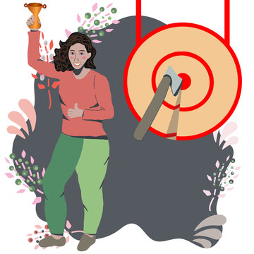 Asian woman standing by a huge target.