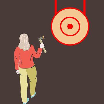 Woman throwing axe in wood target