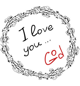 Lettering note from God with text I love you, signature  God - in frame with crown of thorns