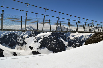 The Titlis Cliff Walk  pedestrian bridge at Mount Titlis in the Swiss Alps