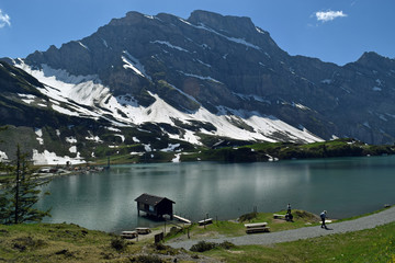 Trüebsee, an Alpine lake on the Ober Trüebsee Alpine pasture at the foot of Mount Titlis, Switzerland
