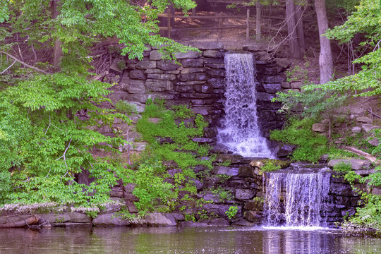 Double waterfall at winkler botanical preserve in Alexandria VA United States