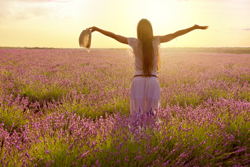 beautiful woman backwards with a hat into purple lavender fields during a summer sunset - Back Light Image