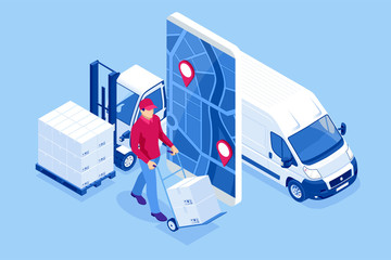 Obraz Isometric online Express, Free, Fast Delivery, Shipping concept. Checking delivery service app on a mobile phone. Delivery-truck with cardboard box, mobile phone background. - fototapety do salonu