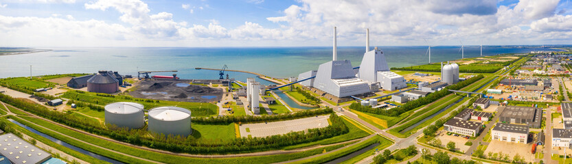 Aerial view of the Power station. One of the most beautiful and stylish power plants in the world. Eco green energy.   Fototapete