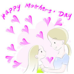 Foto op Canvas Klassieke abstractie happy mothers day vector drawing