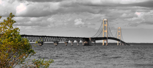 Printed kitchen splashbacks Bridges Historic Mackinaw bridge -longest suspension bridge in america