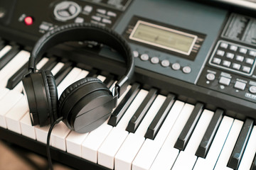 Headphone on musical synthesizer keyboard or electronic piano