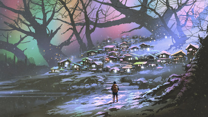Deurstickers Grandfailure night scenery of snow village with colorful atmosphere, digital art style, illustration painting