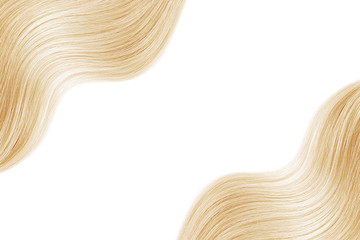 Blond shiny hair as background. Copyspace