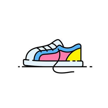Colorful sneaker line icon. Kids shoe symbol. Footwear sign. Vector illustration.