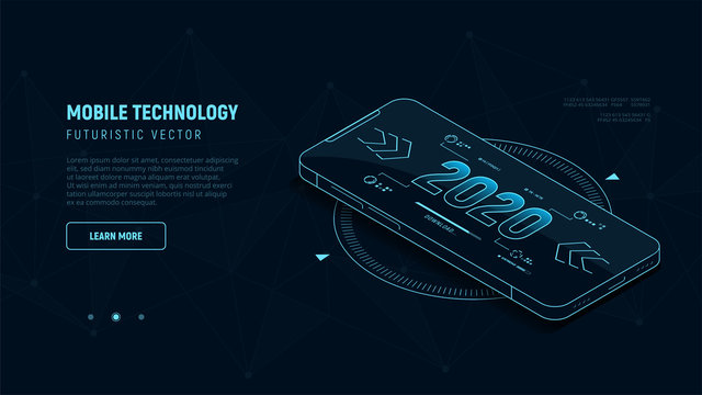 Banner of mobile technology concept. 2020 on display phone. Blue neon lines silhouette phone. Isometric futuristic vector illustration.