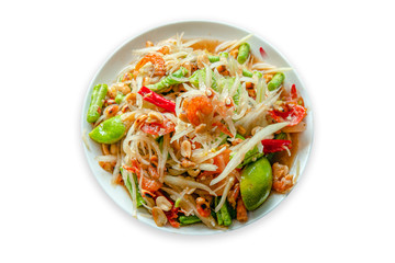 green papaya salad in white plate on white background.