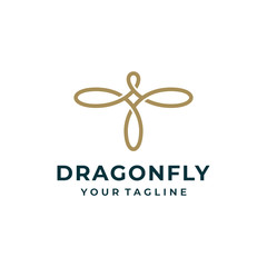 Dragonfly logo and icon design vector.
