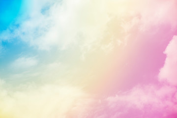 beautiful blue sky in pastel colors and large cloud background. colorful background backdrop