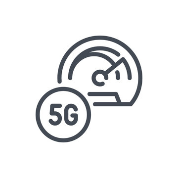 5G high speed network dashboard line icon. Vector outline sign.