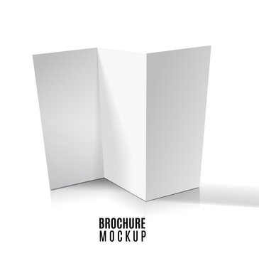 Blank trifold paper brochure mockup isolated on white. Vector Illustration