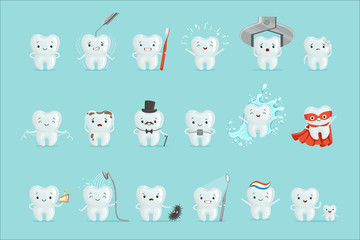 Cute teeth with different emotions set for label design. Cartoon detailed Illustrations