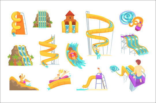 People having fun playing water slides, set for label design. Cartoon detailed Illustrations