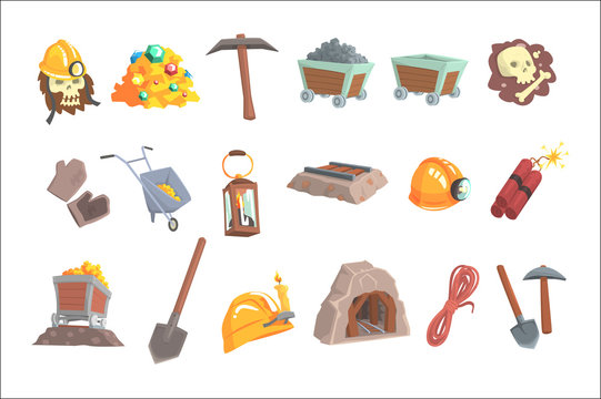 Gold mining, set for label design. Mining equipment, wild west. Colorful cartoon detailed vector Illustrations