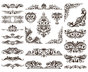 Ornamental design lace borders and corners Vector set art deco floral ornaments elements