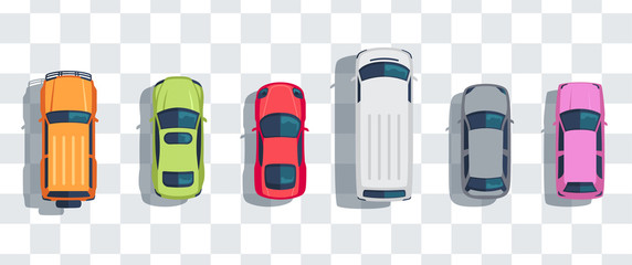 Foto auf AluDibond Cartoon cars Cars set from above, top view isolated. Cute beautiful cartoon transport with shadows. Modern urban civilian vehicle. View from the bird's eye. Realistic car design. Flat style vector illustration.