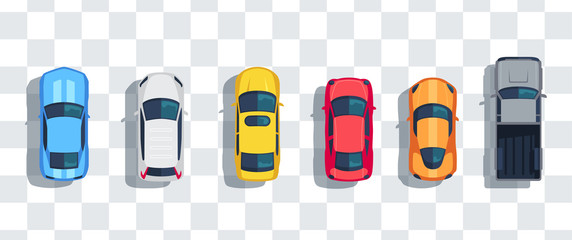 Poster Cartoon cars Cars set from above, top view isolated. Cute beautiful cartoon transport with shadows. Modern urban civilian vehicle. View from the bird's eye. Realistic car design. Flat style vector illustration.