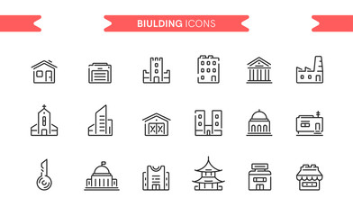 Buildings icons set isolated. Line art. Editable. Signs and symbols. Modern simple style. Shop, factory, market, bank, university, skyscrapers, key, garage, church. Flat style vector illustration. Fototapete