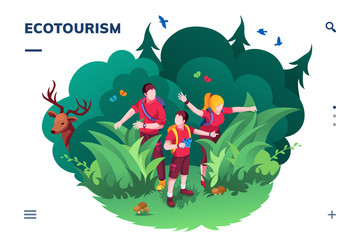 Ecotourism screen for smartphone application or eco tourism landing page. Family walking at wood or forest. Traveling and hiking activity banner. Ecology app and green concept. Recreation and summer